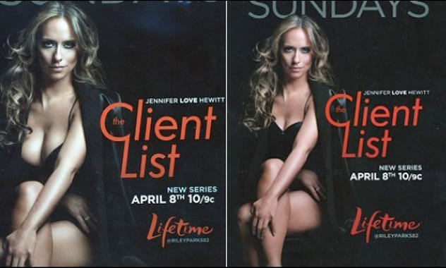 Jennifer Love Hewitt Receives Digital Breast Reduction For 'The Client List' Ad