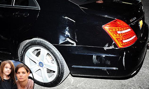 Katie Holmes & Suri's Car Hit by Garbage Truck