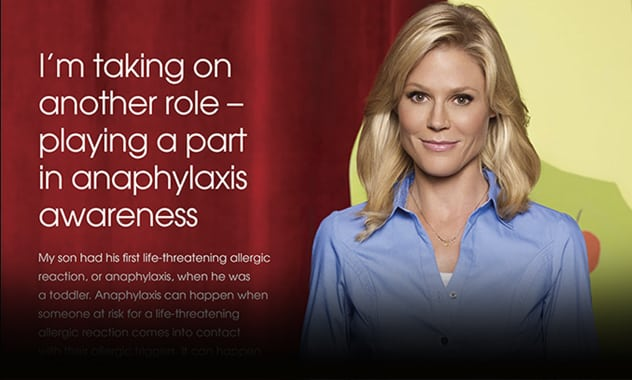 """Modern Family"" Star Julie Bowen Joins Mylan Specialty L.P. to Launch Health Awareness Initiative to Address Growing Rate of Life-Threatening Allergic Reactions 1"