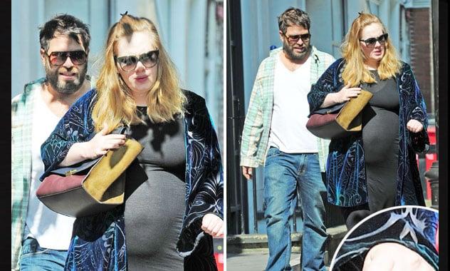 Pregnant Adele Shows Off Huge Baby Bump With Boyfriend Simon Konecki in London