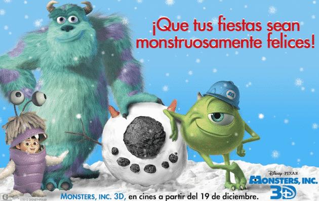Felices Fiestas de parte del elenco de Monsters, Inc. 3D!