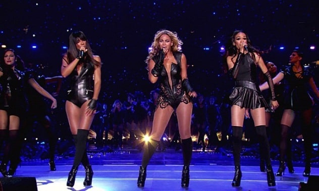 Beyonce performs during the Super Bowl XLVII halftime show, held at Mercedes-Benz Superdome in New Orleans, LouisianaFeaturing: Kelly Rowland,Beyonce Knowles,Michelle WilliamsWhere: United StatesWhen: 03 Feb 2013Credit: Supplied by WENN.com**WENN does not claim any ownership including but not limited to Copyright or License in the attached material. Any downloading fees charged by WENN are for WENN's services only, and do not, nor are they intended to, convey to the user any ownership of Copyright or License in the material. By publishing this material you expressly agree to indemnify and to hold WENN and its directors, shareholders and employees harmless from any loss, claims, damages, demands, expenses (including legal fees), or any causes of action or  allegation against WENN arising out of or connected in any way with publication of the material. offline**