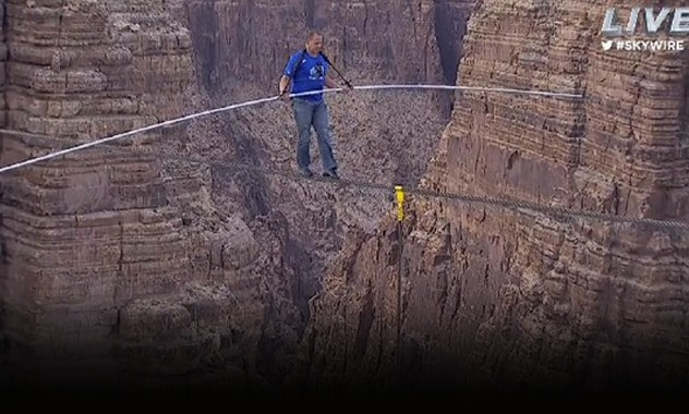 """Nik Wallenda, """"King of the High Wire"""", Latest, And Biggest, and Record Breaking Stunt, Tightroping Over the Grand Canyon 2"""