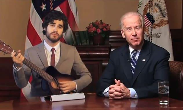 Glee's Darren Criss Sings Duet With Joe Biden in Political PSA Spoof