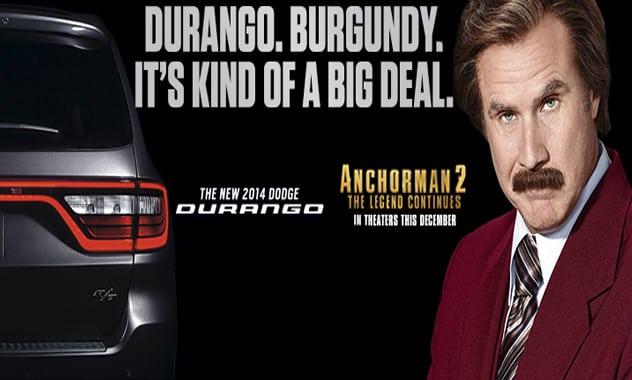 With a voice like smooth velvety, Ron Burgundy has single handedly jumpedDodge Durango sales by 59%