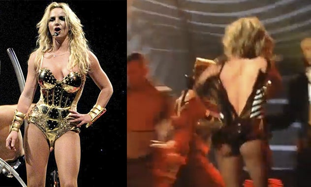 Wardrobe Issues Ms. Spear? Britney Keeps Show Going As Aide Helps To Put Her Outfit Back On
