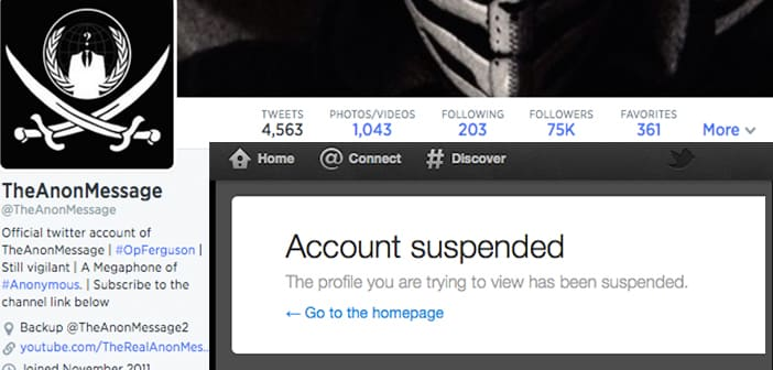 Twitter suspends Anonymous account Twitter suspends Anonymous account