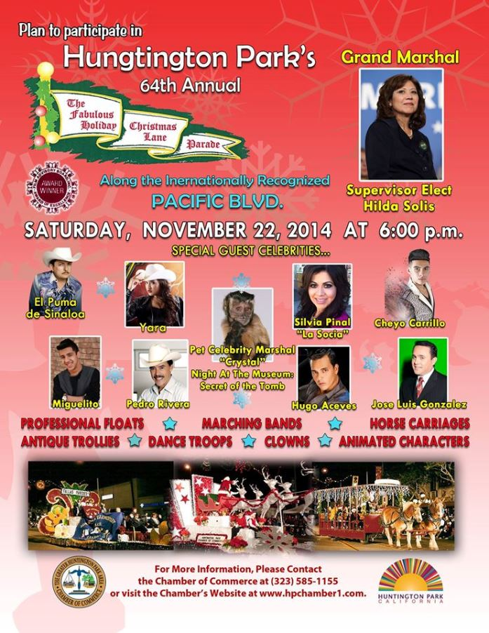Huntington Park Holiday Parade Flyer