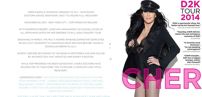 Cher Forced to Cancel Tour After Of Severe Infection