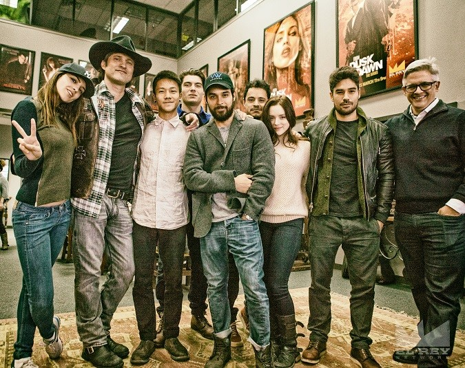 CAPTION:  Production started in Austin TX today on the second season of From Dusk Till Dawn: The Series, for El Rey Network and Miramax. L to R - Eiza González (Santánico Pandemonium), Robert Rodriguez (Creator, Director and El Rey Network Chairman), Brandon Soo Hoo (Scott Fuller), Zane Holtz (Richie Gecko), Wilmer Valderrama (Carlos Madrigal), Jesse Garcia (Freddie Gonzalez), Madison Davenport (Kate Fuller), D.J. Cotrona (Seth Gecko), and Carlos Coto (Writer and Showrunner).  Photo: Kurt Volk/El Rey Network