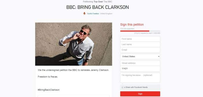 BBC Receives Online Petition To Demanding Jeremy Clarkson Return To 'Top Gear' 2