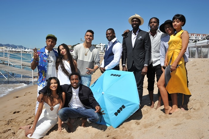 Front row (left to right): Actors Chanel Iman, Shameik Moore / Second row (left to right): Executive Producer Pharrell Williams, Actors Zoë Kravitz, Quincy Brown, Amin Joseph, Director Rick Famuyiwa, Actors A$AP Rocky, Tony Revolori and Kiersey Clemons celebrate Open Road Films' DOPE in Cannes.