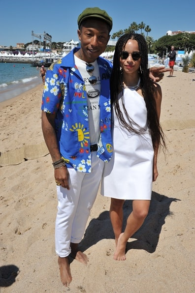 2522                 Executive Producer Pharrell Williams and actress Zoë Kravitz celebrate Open Road Films' DOPE in Cannes.