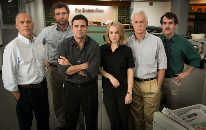 Michael Keaton, Liev Schreiber, Mark Ruffalo, Rachel  McAdams, John Slattery, and Brian d'Arcy James in SPOTLIGHT
