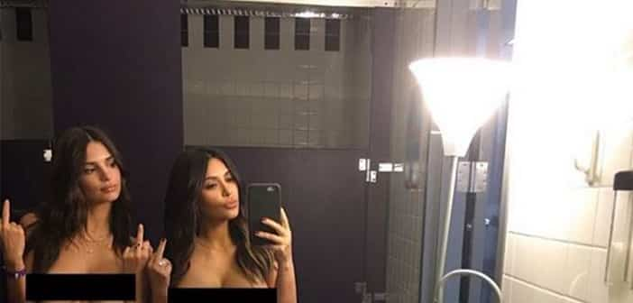 Kim K Topless Selfie Returns With Bestie Emily Ratajkowski  Joining In Big FU To Haters