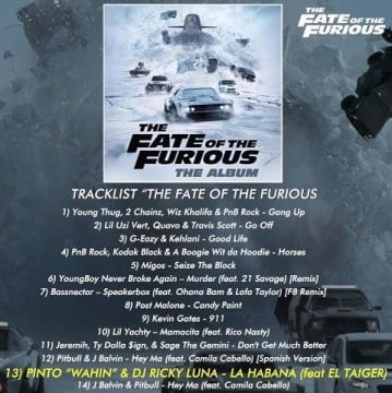 fate of the furious movie soundtrack artists pinto wahin dj ricky luna ft el taiger la. Black Bedroom Furniture Sets. Home Design Ideas