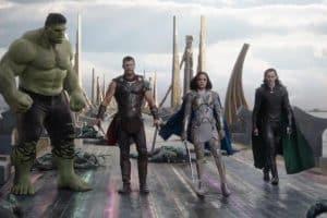 Mark Ruffalo, Tom Hiddleston, Chris Hemsworth, and Tessa Thompson in Thor Ragnarok